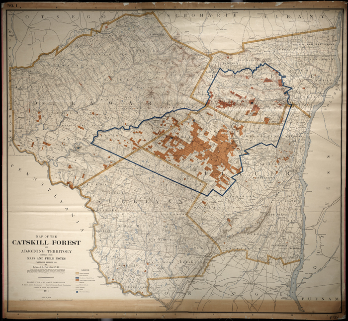 original map of Catskills showing blue line