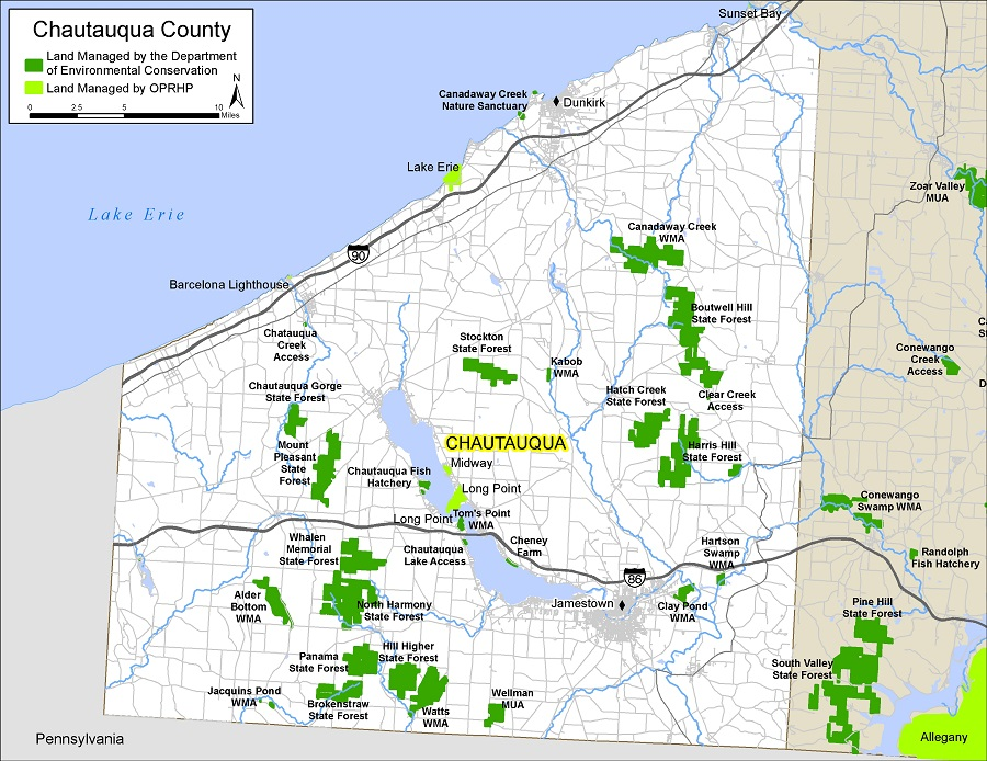 map of Chautauqua County showing state-owned lands open for public recreation