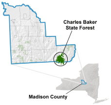 Charles Baker State Forest locator map