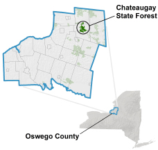 Chateaugay State Forest locator map
