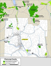 small map of Chemung County