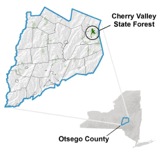 Cherry Valley State Forest locator map