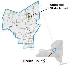 Clark Hill State Forest locator map