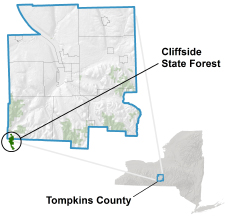 Cliffside State Forest locator map