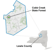 Cobb Creek State Forest locator map