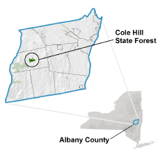 Cole Hill State Forest locator map