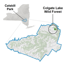 Colgate Lake Wild Forest locator map
