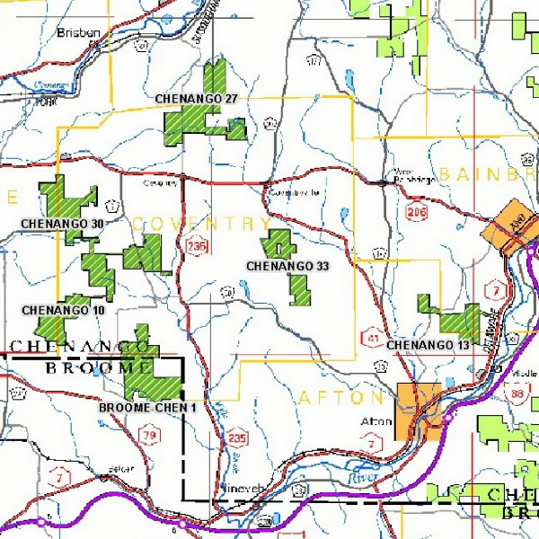 Map of Coventry State Forests