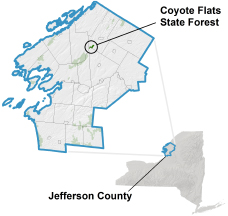 Coyote Flats State Forest locator map