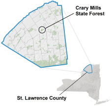 Crary Mill State Forest Locator Map