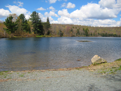 view of Crystal Lake from the boat launch