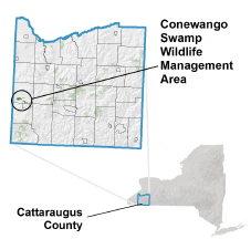 Conewango Swamp WMA locator map