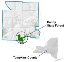 Danby State Forest locator map