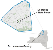 Degrasse State Forest Locator Map