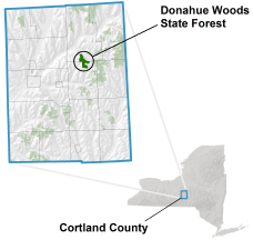 Donahue Woods State Forest locator map