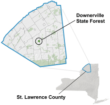 Downerville State Forest locator map