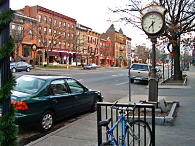 View of downtown Saratoga Springs with sidewalks aesthetic improvements, benches, bike rack and street trees