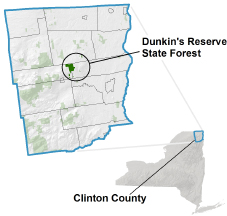 Dunkins Reserve State Forest locator map