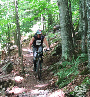 Mountain biker in the Elm Ridge Wild Forest