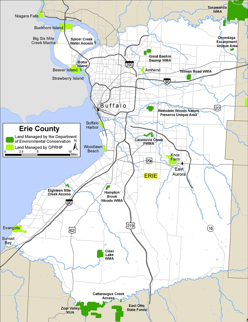 map of Erie County showing state-owned lands open for public recreation