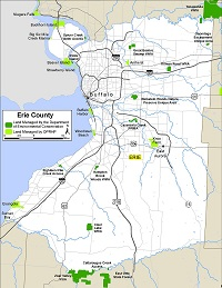 small map of Erie County