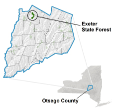 Exeter State Forest locator map