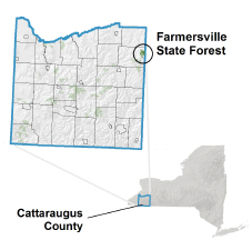 Farmersville State Forest locator map