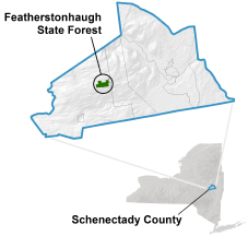 Featherstonhaugh State Forest locator map