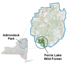 Ferris Lake Wild Forest locator map