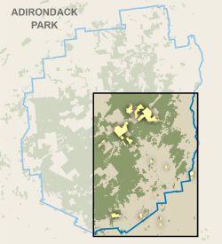 map of Adirondack Park showing location of former Finch parcels