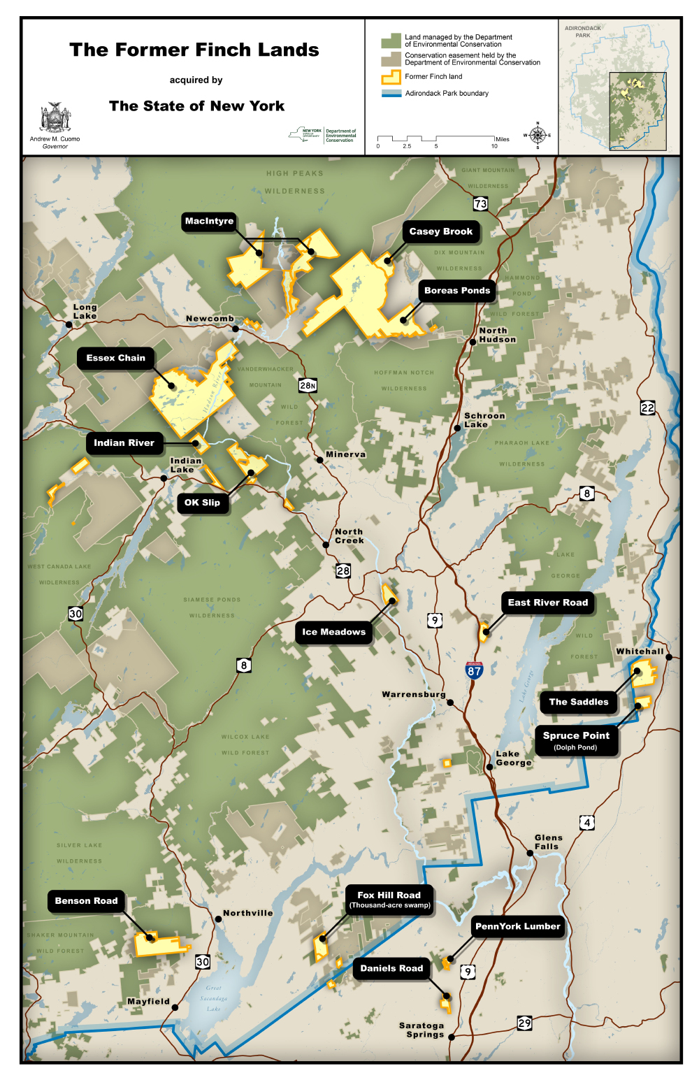 map showing locations of former Finch and TNC lands to be acquired by NYS