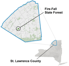 Fire-Fall State Forest locator map