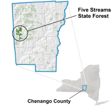 Five Streams State Forest locator map
