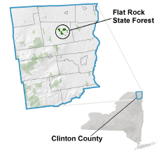Flat Rock State Forest locator map