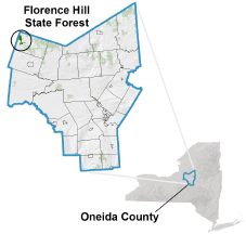 Florence Hill State Forest locator map