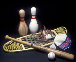 products made from wood: bowling pins, snowshoe and baseball bat