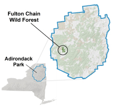 Fulton Chain Wild Forest locator map