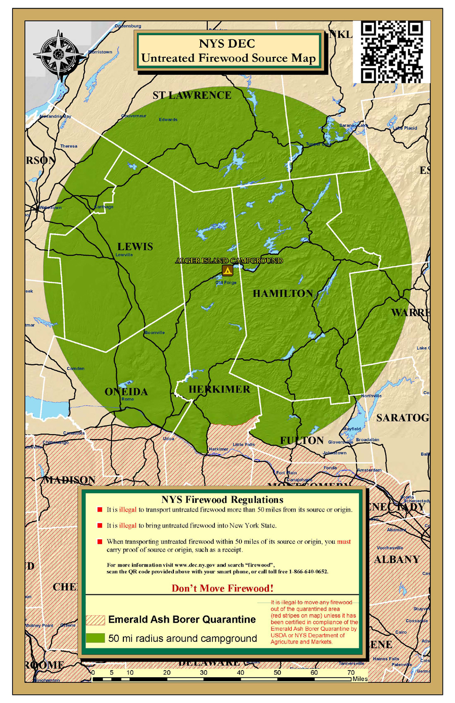 Map showing 50-mile radius around campground
