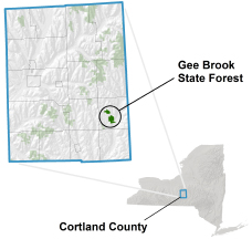 Gee Brook State Forest locator map