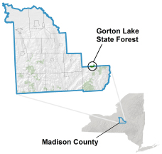 Gorton Lake State Forest locator map