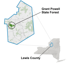 Grant Powell State Forest locator map