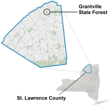 Grantville State Forest locator map