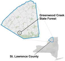 Greenwood Creek State Forest locator map