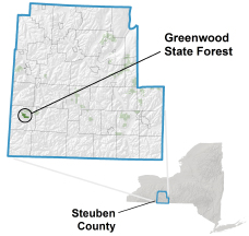 Greenwood State Forest locator map