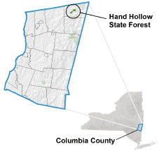 Hand Hollow State Forest locator map