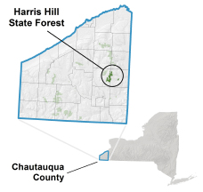 Harris Hill State Forest locator map