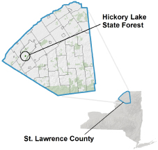 Hickory Lake State Forest locator map