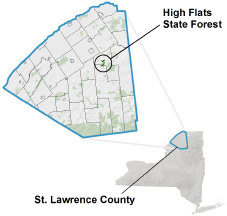 High Flats State Forest locator map