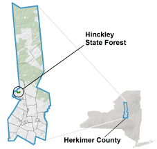 Hinckley State Forest locator map