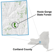 Hoxie Gorge State Forest locator map